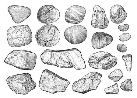 Ilustración de guijarros de roca dibujo grabado tinta arte lineal vector
