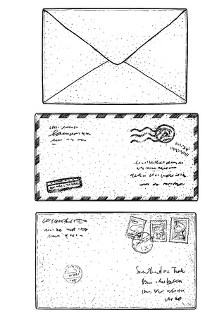 Mail envelope, sticker, stamp, illustration, drawing, engraving, ink, line art, vector Ilustração