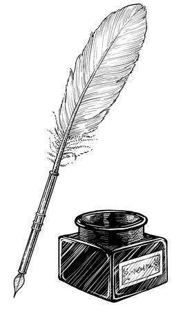 Feather pen and ink bottle illustration, engraving, ink, line art, vector