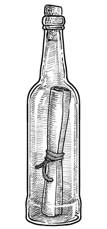 Message in bottle illustration, engraving, ink, line art, vector