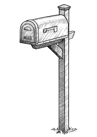 Mailbox illustration, engraving, ink, line art, vector Imagens - 121653755