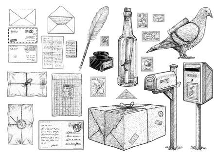 Collezione di attrezzature per corrispondenza, disegno, incisione, inchiostro, line art, vettore Vettoriali