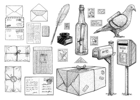 Correspondence equipment collection, drawing, engraving, ink, line art, vector Ilustração
