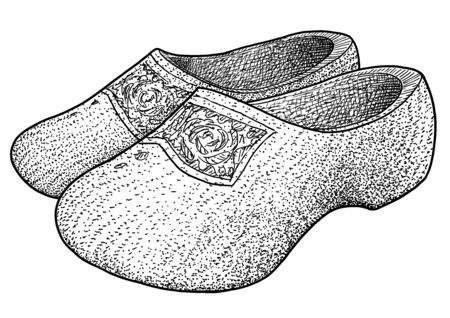 Dutch wooden clogs on white Imagens - 134275978