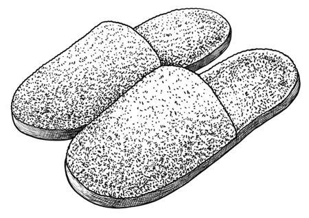 House slipper on white Ilustração