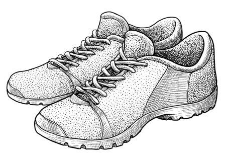Sports shoe on white Ilustração