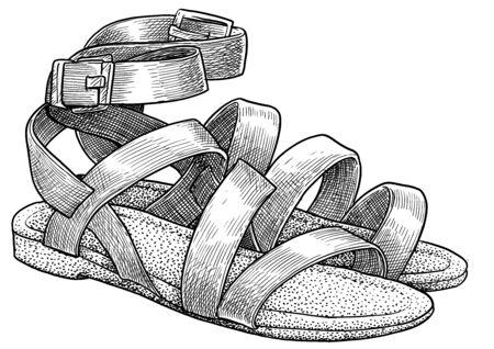 Sandals  on white Ilustração