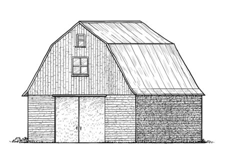 Barn illustration, drawing, engraving, ink, line art, vector Foto de archivo - 131840897