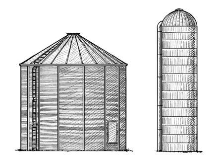 Ilustración de silo, dibujo, grabado, tinta, arte lineal, vector