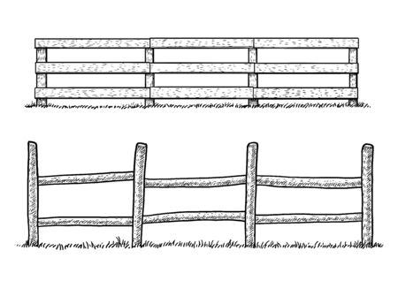 Wooden fence illustration, drawing, engraving, ink, line art, vector