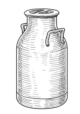 Can container for milk illustration, drawing, engraving, ink, line art, vector