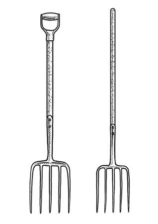 Pitchfork illustration, drawing, engraving, ink, line art, vector Imagens - 131841284