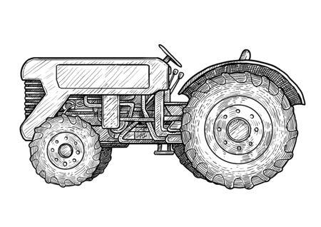 Illustration de tracteur, dessin, gravure, encre, dessin au trait, vecteur Vecteurs
