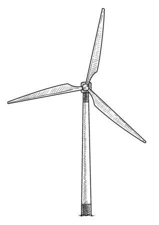 Windmill, wind turbine illustration, drawing, engraving, ink, line art, vector
