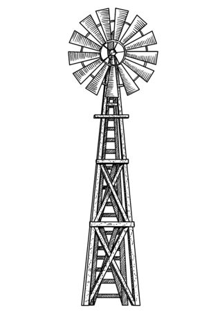 Windmühlenillustration, Zeichnung, Gravur, Tinte, Strichzeichnungen, Vektor Vektorgrafik