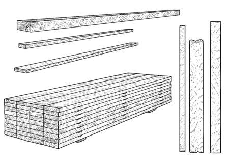 Wooden boards, planks illustration, drawing, engraving, ink, line art, vector