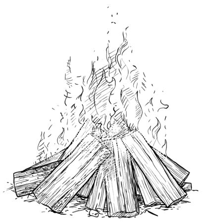 Camp fire illustration, drawing, engraving, ink, line art, vector