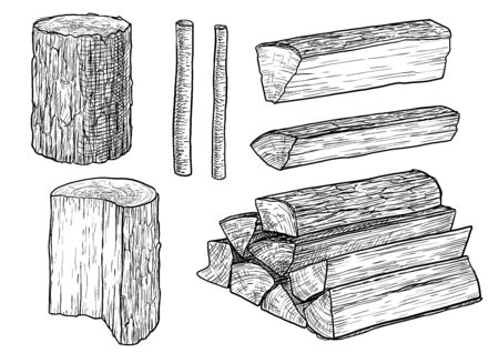 Cut logs, fire wood, chopped wood illustration, drawing, engraving, ink, line art, vector