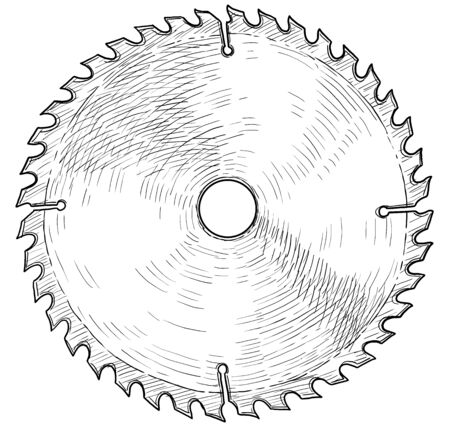 Circular saw blade illustration, drawing, engraving, ink, line art, vector