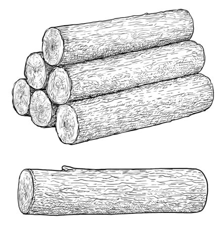 Logs illustration, drawing, engraving, ink, line art, vector