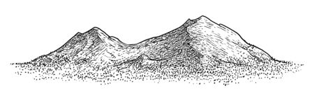 Mountain illustration, drawing, engraving, ink, line art, vector Ilustracja