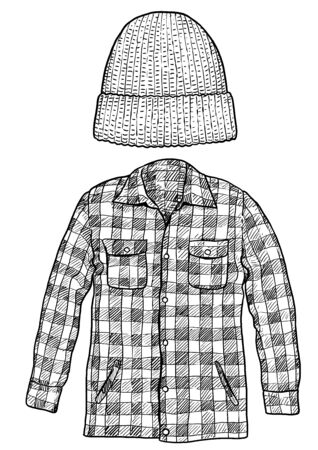 Checked shirt and hat hat illustration, drawing, engraving, ink, line art, vector Imagens - 135706975