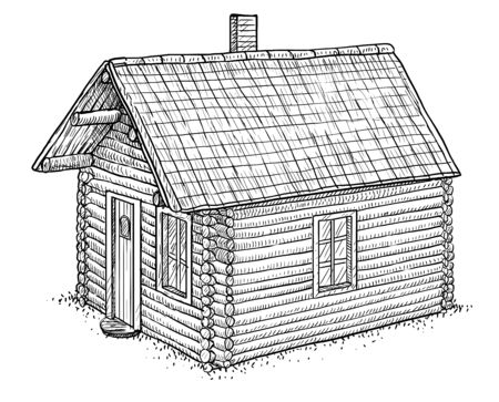 Log wood house illustration, drawing, engraving, ink, line art, vector
