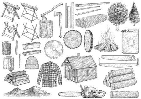Ilustración de colección de equipo de leñador, dibujo, grabado, tinta, arte lineal, vector
