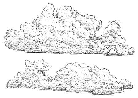 Illustration de nuage, dessin, gravure, encre, dessin au trait, vecteur