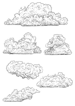 Cloud illustration, drawing, engraving, ink, line art, vector Ilustracja