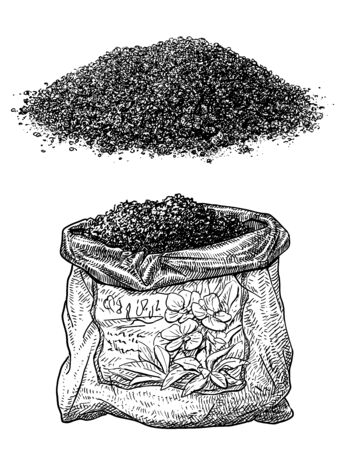 Soil and plastic bag illustration, drawing, engraving, ink, line art, vector