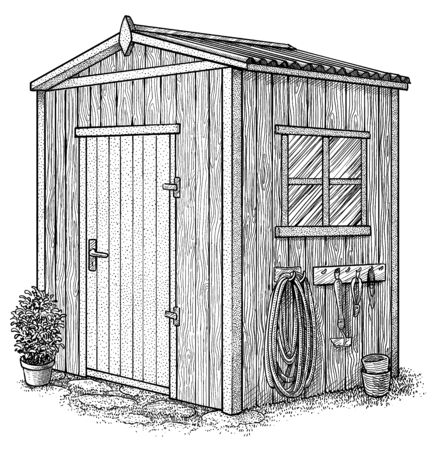 Gardenhouse illustration, drawing, engraving, ink, line art, vector Vettoriali