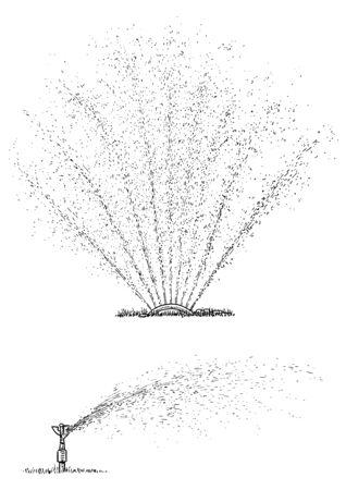 Irrigation system illustration, drawing, engraving, ink, line art, vector