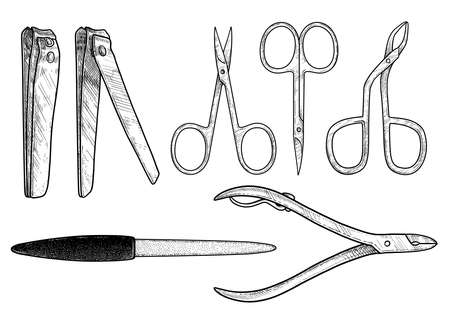 Manicure and pedicure tools illustration, drawing, engraving, ink, line art, vector 向量圖像