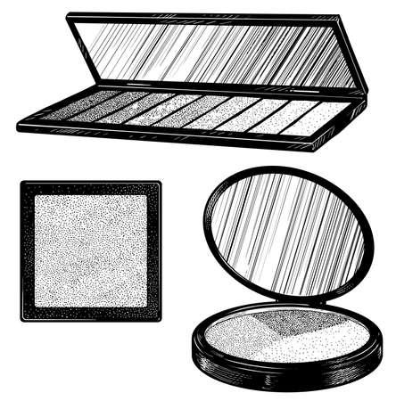 Makeup palette set illustration, drawing, engraving, ink, line art, vector