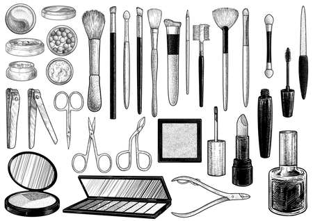 Makeup tool collections, illustration, drawing, engraving, ink, line art, vector