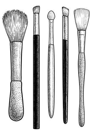 Make-up brushes illustration, drawing, engraving, ink, line art, vector