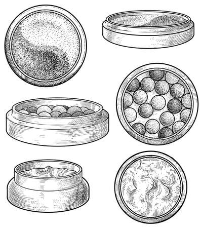 Face up powder, cream and pearls illustration, drawing, engraving, ink, line art, vector 向量圖像