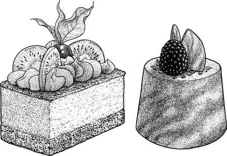 Slice of cakes illustration, drawing, engraving, ink, line art, vector 向量圖像