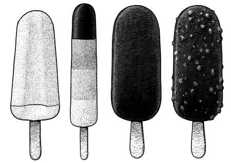 Popslice and ice cream illustration, drawing, engraving, ink, line art, vector 向量圖像