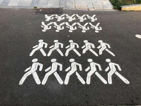 Crosswalk. People are drawn on the asphalt Selective focus Stockfoto