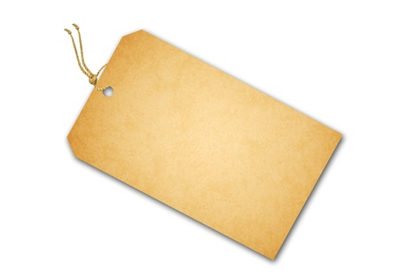 Blank tag tied with brown string Standard-Bild