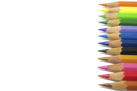 Colouring crayon pencils isolated on white background photo