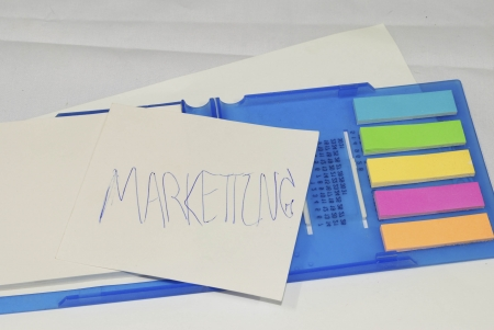Business marketing strategy concept,  strategy on memo stick notes photo photo