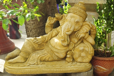 Golden statue of Ganesha - the Elephant headed god of luck and prosperity Stock Photo