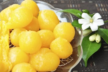 sweetmeat: Traditional thai dessert golden sweet meat. Stock Photo