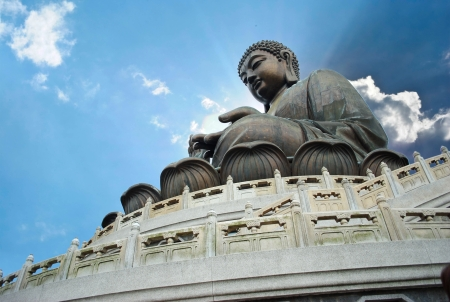 Giant Buddha sitting on lotusl  Hong Kong