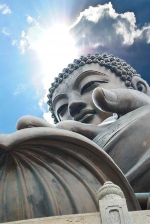 nirvana: Giant Buddha sitting on lotusl. Hong Kong