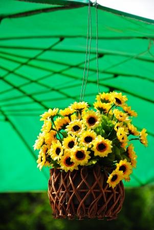 Hanging Artificial flowers pots photo