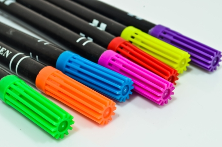 Color pens all the colors of the the rainbow  Isolated object  photo